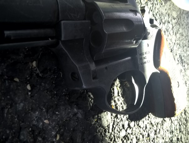 Gun recovered at the scene of shooting.