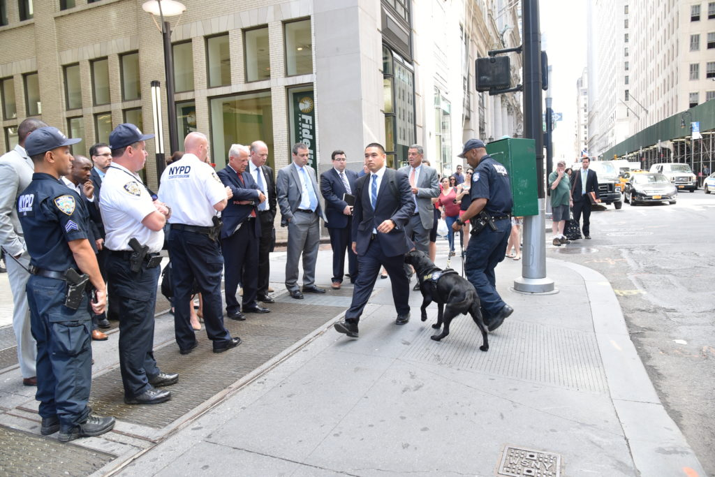 The congressional delegation was also given a demonstration of equipment and by the NYPD's newest explosive detection canine unit.