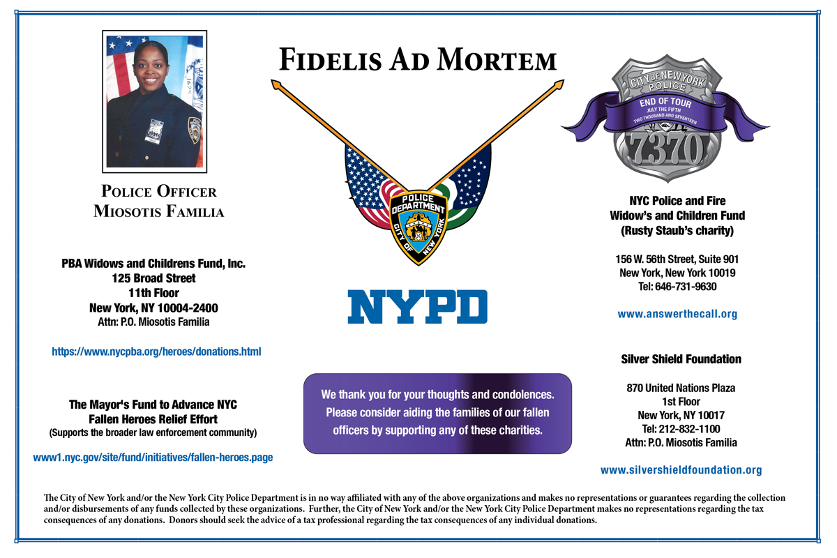 Funeral Information for NYPD Police Officer Miosotis Familia - NYPD News